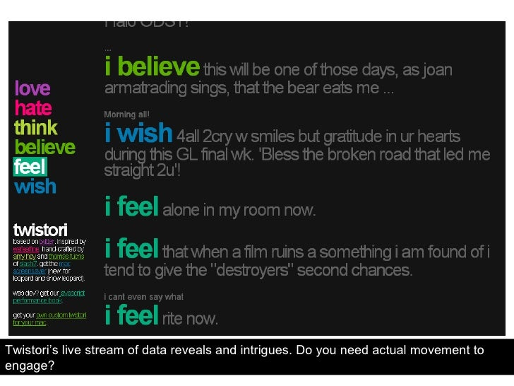 Twistori's live stream of data reveals and intrigues. Do you need actual movement to engage?