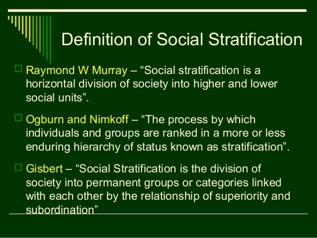 4 definition of social stratification
