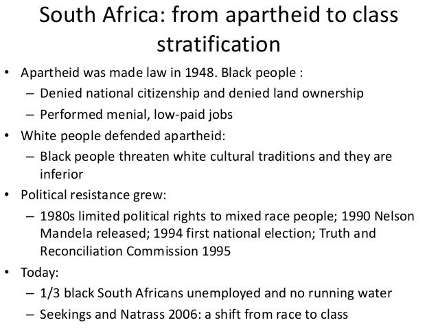 social stratification in south africa Slavery still exists in parts of africa, asia, and south america, with some  estimates  the continuing influence of its traditional system of social stratification.