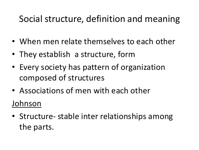 Social structure, definition and meaning • When men relate themselves to each other • They establish a structure, form • E...