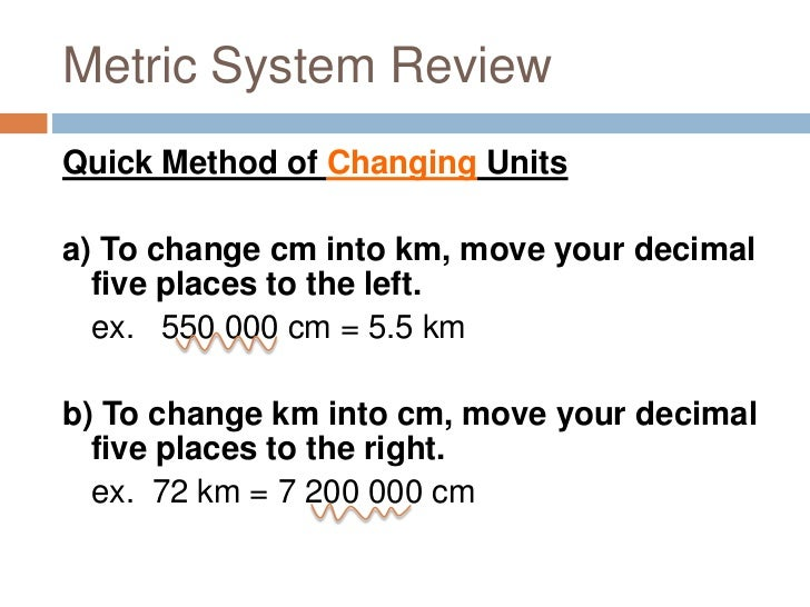 how to change km to cm