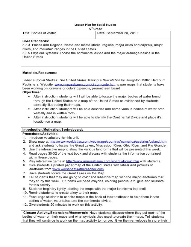 Lesson Plan for Social Studies5thGradeTitle: Bodies of Water Date: September 20, 2010Core Standards:5.3.3 Places and Regio...