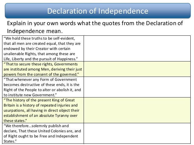 the constitution versus the declaration of Consequently, each constitution began with a declaration or bill of rights, and  virginia's, which served as a model for all the others, included a declaration of.