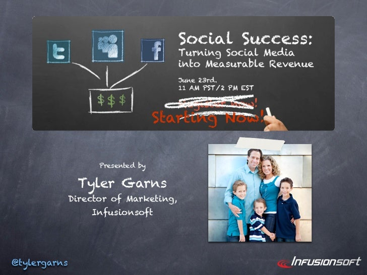 Starting Now!                    Presented by                Tyler Garns              Director of Marketing,              ...