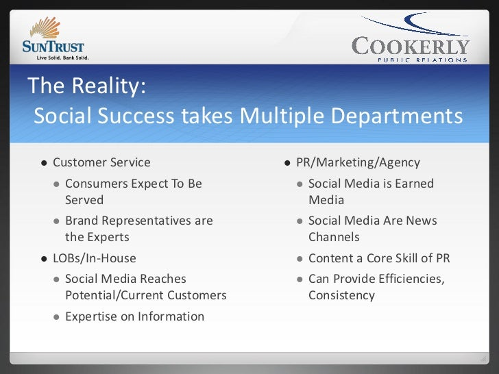 The Reality:Social Success takes Multiple Departments    Customer Service                   PR/Marketing/Agency      Co...