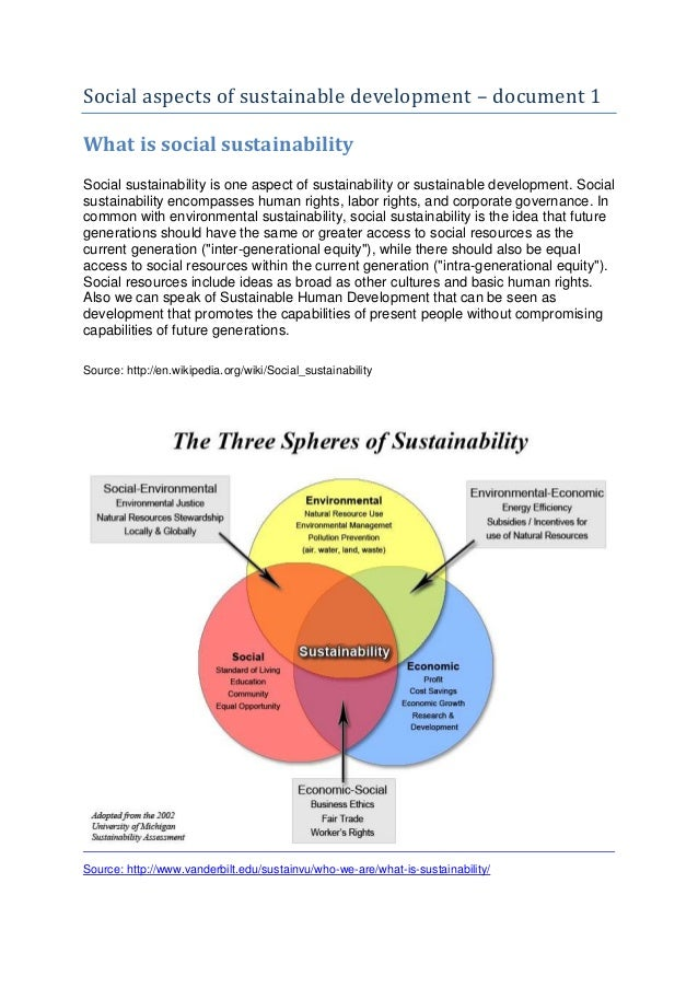 Social aspects of sustainable development – document 1What is social sustainabilitySocial sustainability is one aspect of ...