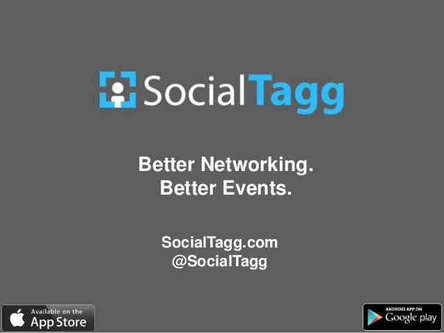 Better Networking. Better Events. SocialTagg.com @SocialTagg