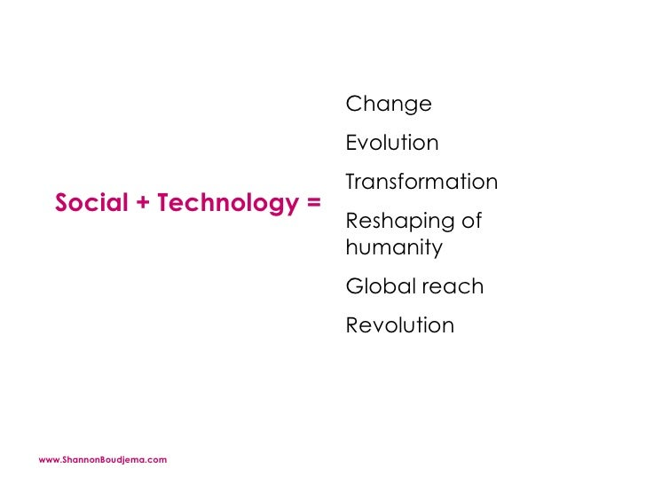 Social + Technology =  Change  Evolution  Transformation  Reshaping of humanity  Global reach Revolution