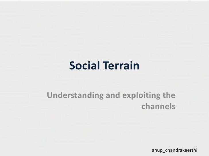 Social Terrain<br />Understanding and exploiting the channels<br />anup_chandrakeerthi<br />