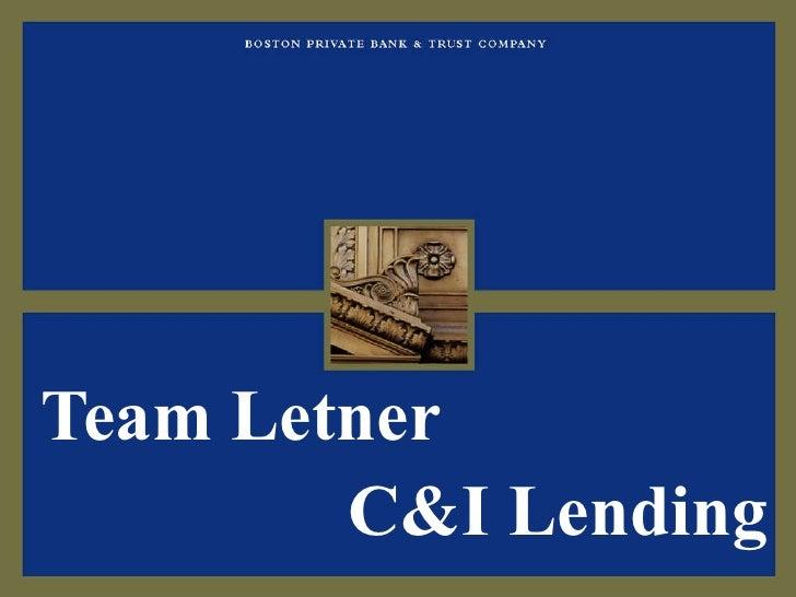 C&I Lending Team Letner