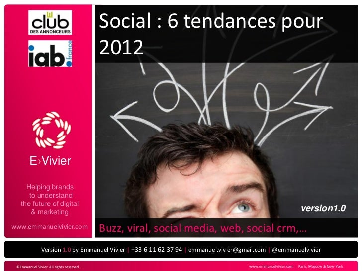 Social : 6 tendances pour                                           2012        E›Vivier     Helping brands      to unders...