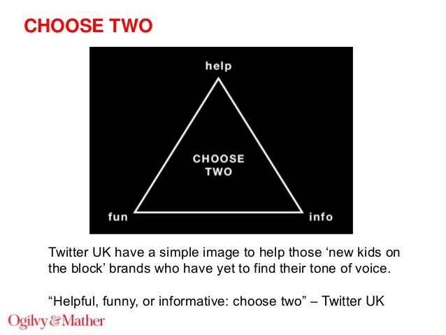 """CHOOSE TWO  Twitter UK have a simple image to help those """"new kids on the block"""" brands who have yet to find their tone of..."""