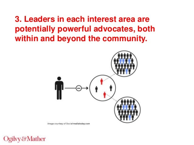 3. Leaders in each interest area are potentially powerful advocates, both within and beyond the community.