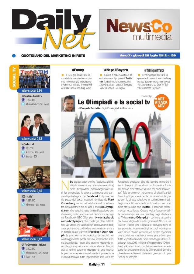 QUOTIDIANO DEL MARKETING IN RETE DailyNet 11 Anno X - giovedì 26 luglio 2012 n.139 < Il 19 luglio sono state an- nunciate ...