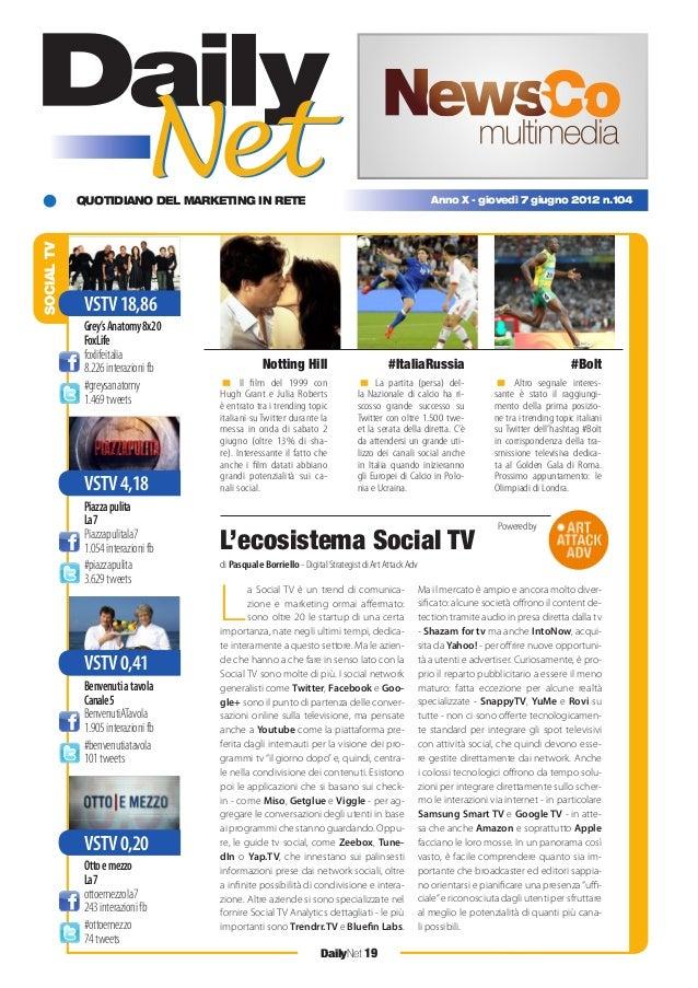 QUOTIDIANO DEL MARKETING IN RETE DailyNet 19 Anno X - giovedì 7 giugno 2012 n.104 SOCIALTV Il film del 1999 con Hugh Grant ...