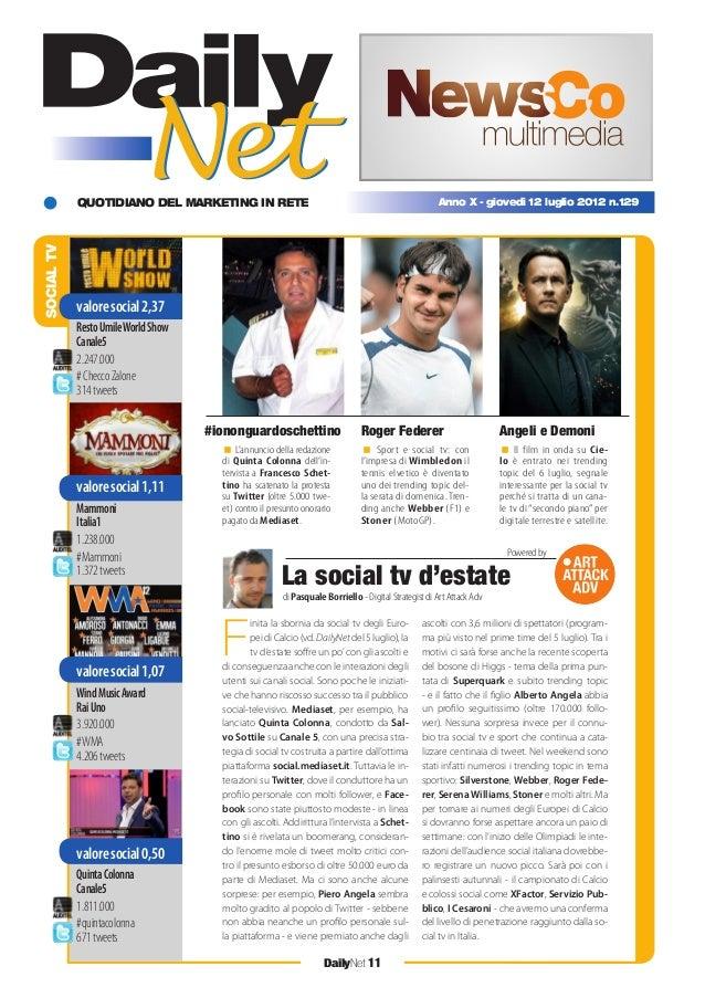 QUOTIDIANO DEL MARKETING IN RETE DailyNet 11 Anno X - giovedì 12 luglio 2012 n.129 SOCIALTV L'annuncio della redazione di ...