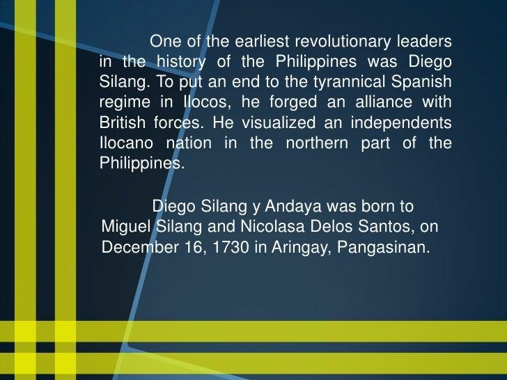 diego silang y andaya A revolt presaging the ilocos revolt led by diego and gabriela silang, and  unique in the  diego silang y andaya (december 16 ilocos sur  desperate.