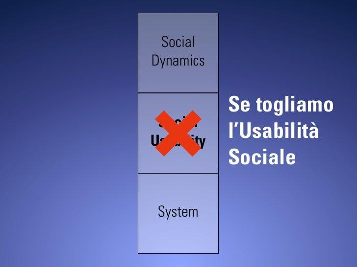 Social Dynamics               Se togliamo  Social Usability   l'Usabilità             Sociale   System