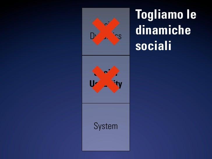 Togliamo le  Social Dynamics    dinamiche             sociali  Social Usability     System