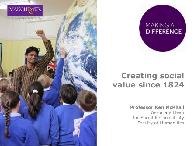 Creating social value since 1824 Professor Ken McPhail Associate Dean for Social Responsibility Faculty of Humanities