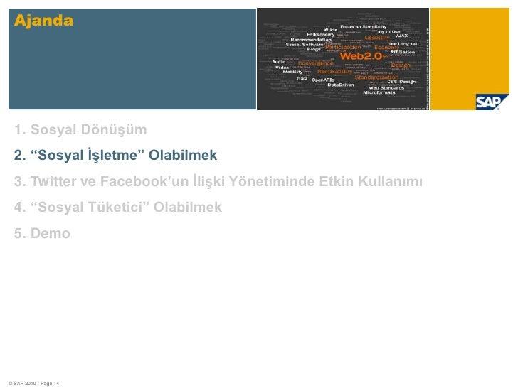 """Ajanda<br />Sosyal Dönüşüm<br />""""Sosyal İşletme"""" Olabilmek<br />Twitter ve Facebook'un İlişki Yönetiminde Etkin Kullanımı<..."""