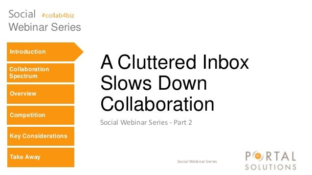 Social Webinar Series A Cluttered Inbox Slows Down Collaboration Social Webinar Series - Part 2 Social #collab4biz Webinar...
