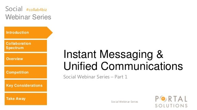 Social #collab4biz Webinar Series Introduction Collaboration Spectrum Overview  Competition  Instant Messaging & Unified C...