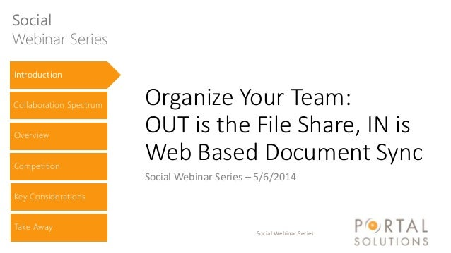 Social Webinar Series Organize Your Team: OUT is the File Share, IN is Web Based Document Sync Social Webinar Series – 5/6...