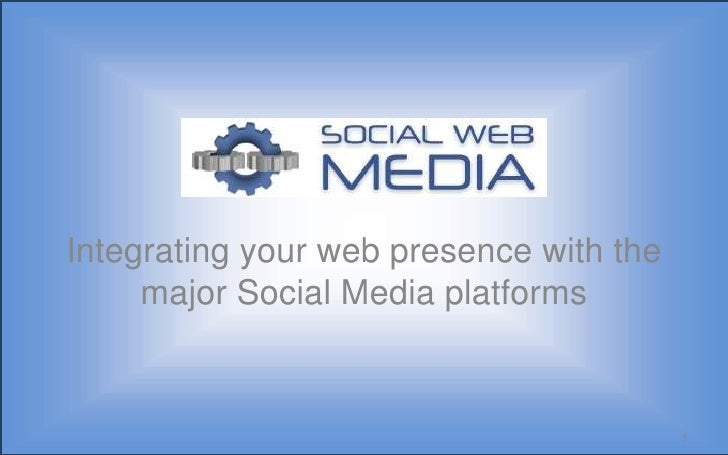 Integrating your web presence with the major Social Media platforms<br />1<br />