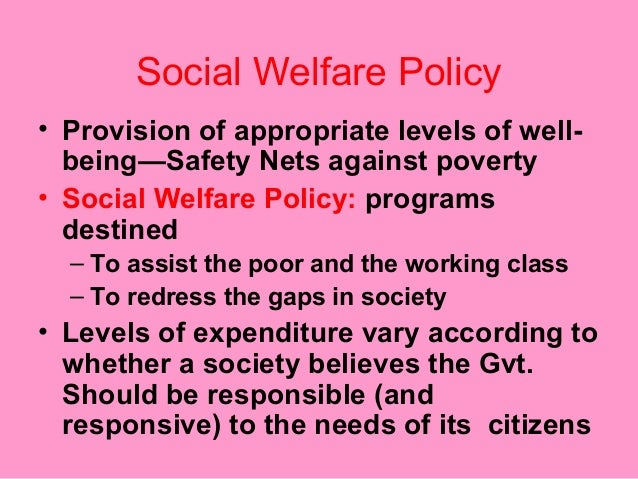 welfare policy Research also underscores the significance of economic and social inequality in  the production and outcomes of crime and welfare policies.
