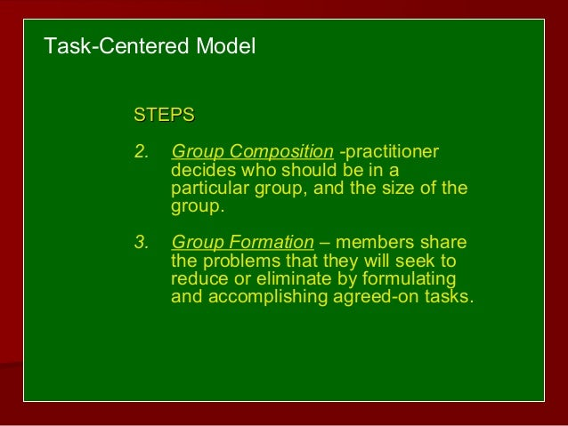 task centered approach in social work Merging task-centered social work and motivational interviewing in outpatient medication assisted substance abuse treatment: model development for social work practice.