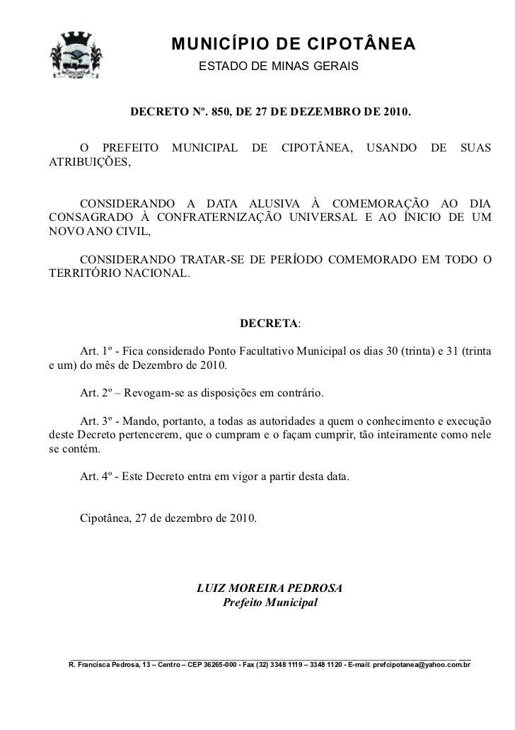 MUNICÍPIO DE CIPOTÂNEA                                          ESTADO DE MINAS GERAIS                      DECRETO Nº. 85...