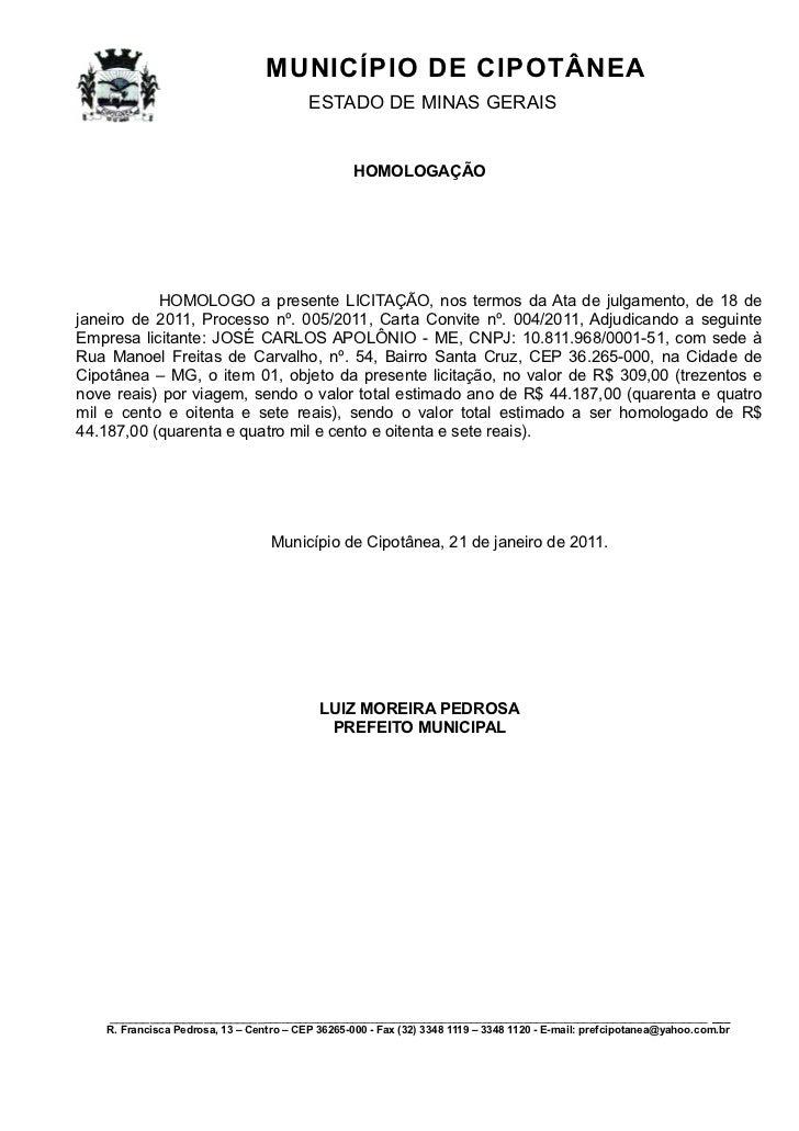 MUNICÍPIO DE CIPOTÂNEA                                          ESTADO DE MINAS GERAIS                                    ...