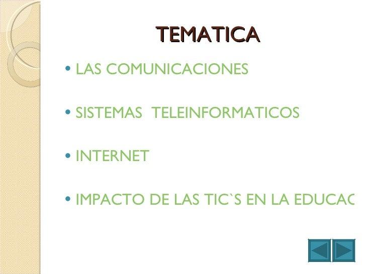TEMATICA <ul><li>LAS COMUNICACIONES </li></ul><ul><li>SISTEMAS  TELEINFORMATICOS </li></ul><ul><li>INTERNET </li></ul><ul>...
