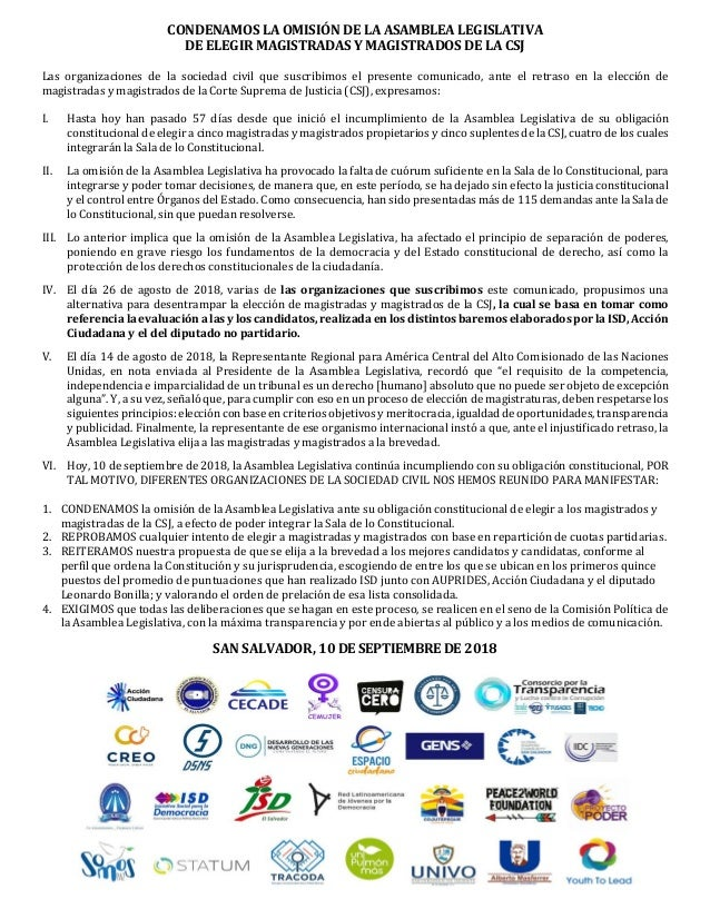 CONDENAMOS LA OMISIÓN DE LA ASAMBLEA LEGISLATIVA DE ELEGIR MAGISTRADAS Y MAGISTRADOS DE LA CSJ Las organizaciones de la so...