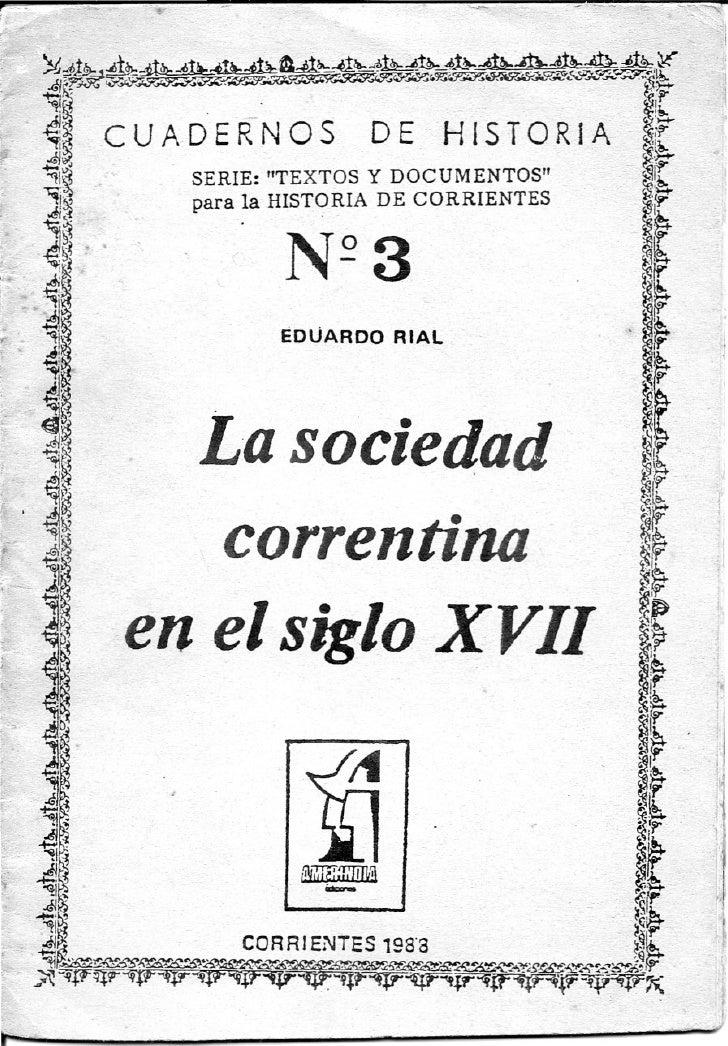 Sociedad Correntina Siglo XVII