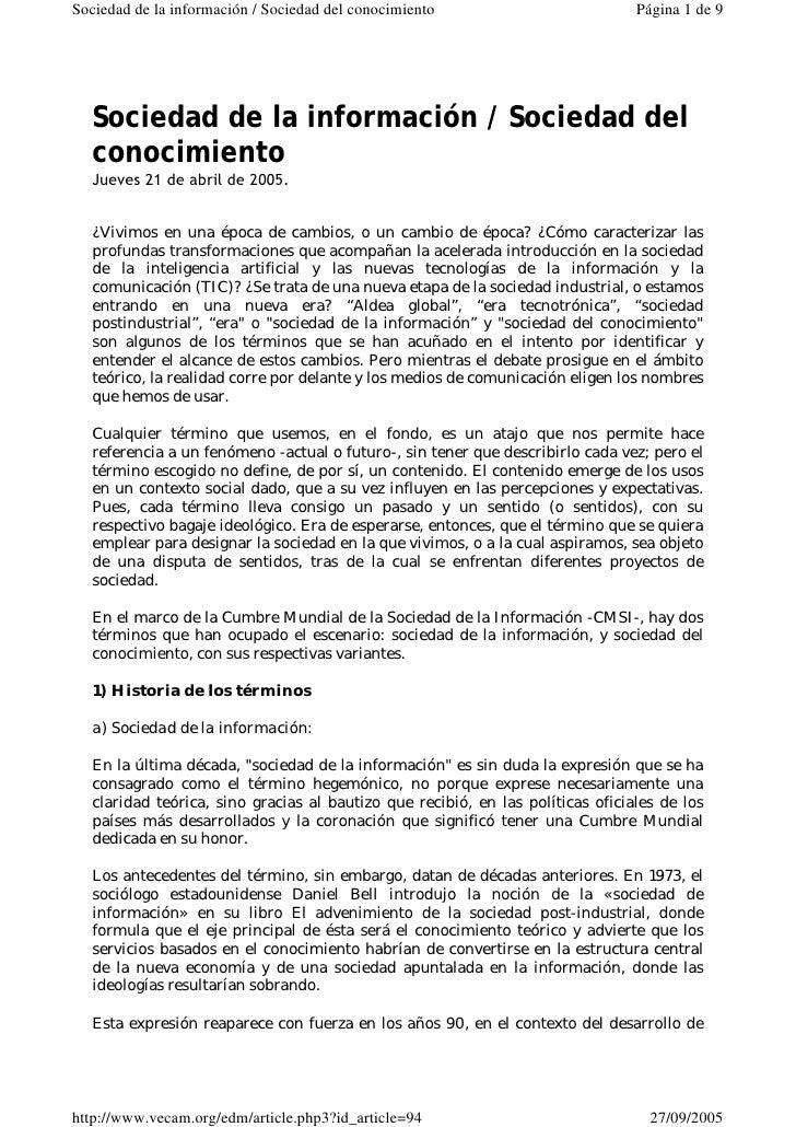 Sociedad de la información / Sociedad del conocimiento                          Página 1 de 9       Sociedad de la informa...