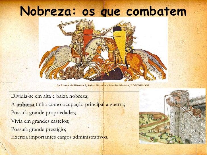 Nobreza: os que combatem                   In Rumos da História 7, Aníbal Barreira e Mendes Moreira, EDIÇÕES ASADividia-se...