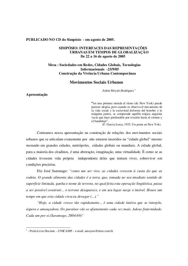 PUBLICADO NO CD do Simpósio - em agosto de 2005.                          SIMPÓSIO: INTERFACES DAS REPRESENTAÇÕES         ...