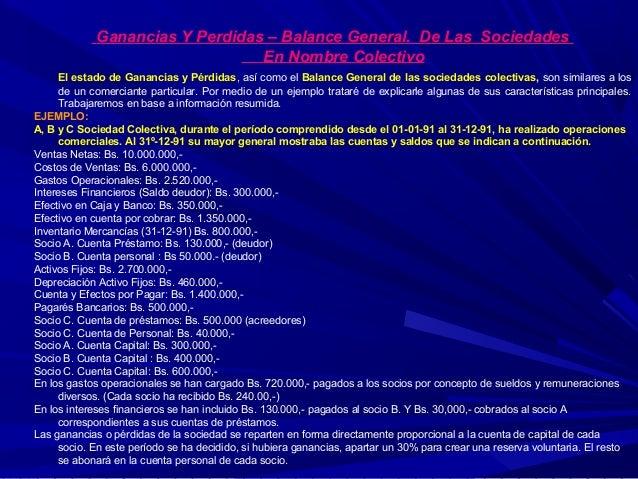 Ganancias Y Perdidas – Balance General. De Las Sociedades En Nombre Colectivo El estado de Ganancias y Pérdidas, así como ...