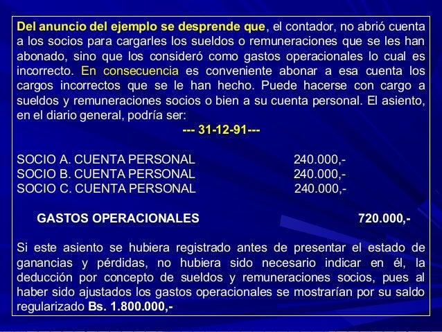 Del anuncio del ejemplo se desprende que, el contador, no abrió cuenta a los socios para cargarles los sueldos o remunerac...