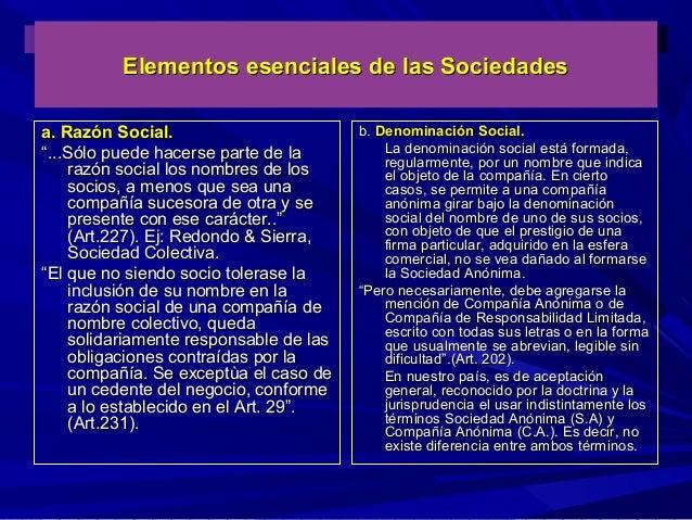 """Elementos esenciales de las Sociedades a. Razón Social. """"...Sólo puede hacerse parte de la razón social los nombres de los..."""