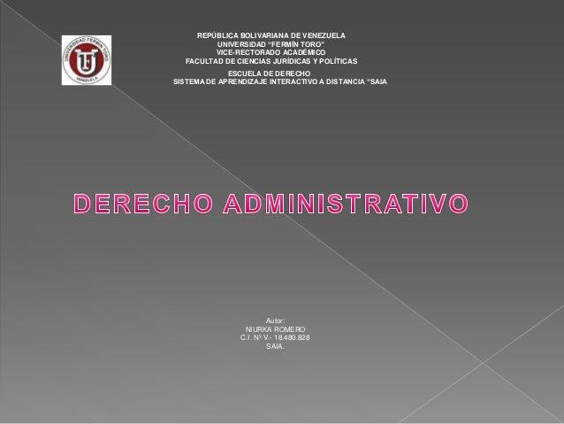"""REPÚBLICA BOLIVARIANA DE VENEZUELA UNIVERSIDAD """"FERMÍN TORO"""" VICE-RECTORADO ACADÉMICO FACULTAD DE CIENCIAS JURÍDICAS Y POL..."""