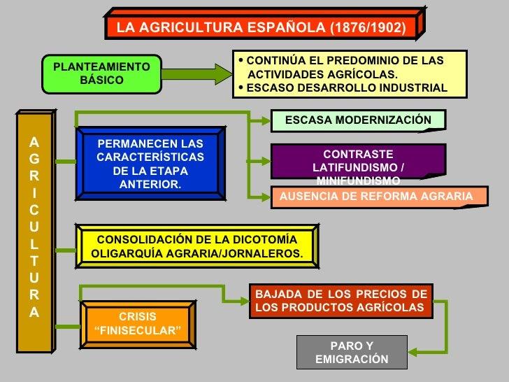 LA AGRICULTURA ESPAÑOLA (1876/1902) PLANTEAMIENTO BÁSICO <ul><li>CONTINÚA EL PREDOMINIO DE LAS </li></ul><ul><li>ACTIVIDAD...