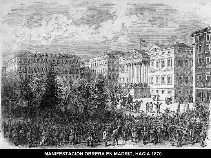 MANIFESTACIÓN OBRERA EN MADRID, HACIA 1870