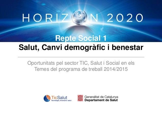 Repte Social 1 Salut, Canvi demogràfic i benestar Oportunitats pel sector TIC, Salut i Social en els Temes del programa de...