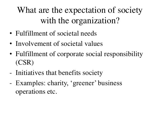 what are your expectations from the society