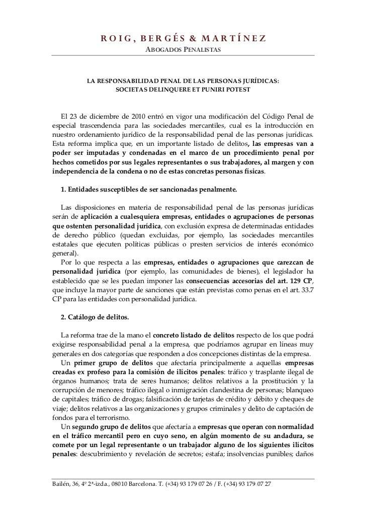 ROIG, BERGÉS & MARTÍNEZ                                    ABOGADOS PENALISTAS             LA RESPONSABILIDAD PENAL DE LAS...