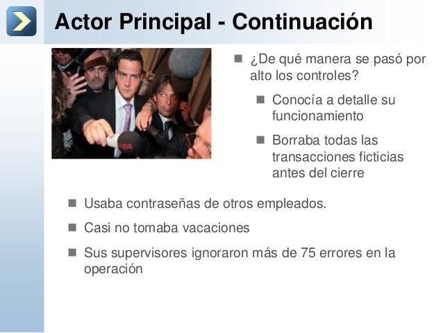 Actor Principal - Continuación Usaba contraseñas de otros empleados. Casi no tomaba vacaciones Sus supervisores ignorar...