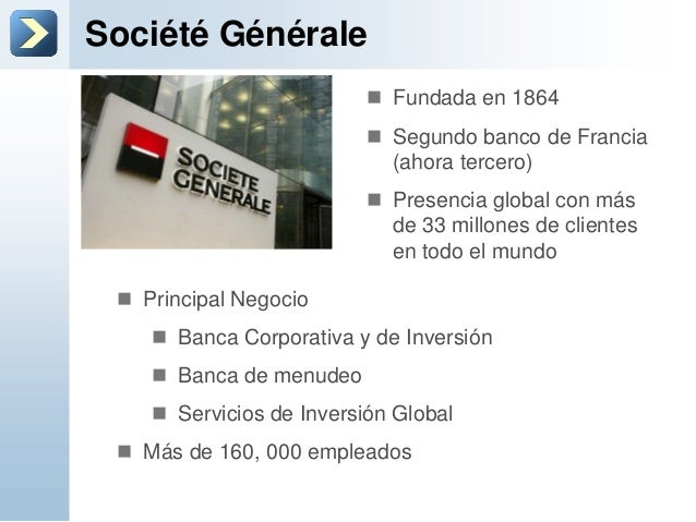 Société Générale Fundada en 1864 Segundo banco de Francia(ahora tercero) Presencia global con másde 33 millones de clie...